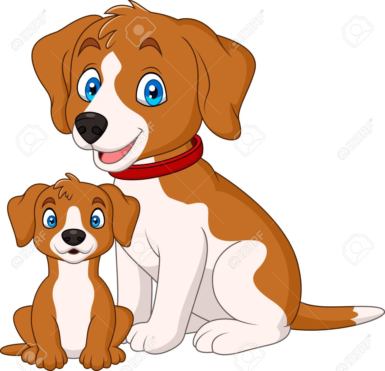 hight resolution of cute mother dog with her puppy stock vector 102626424
