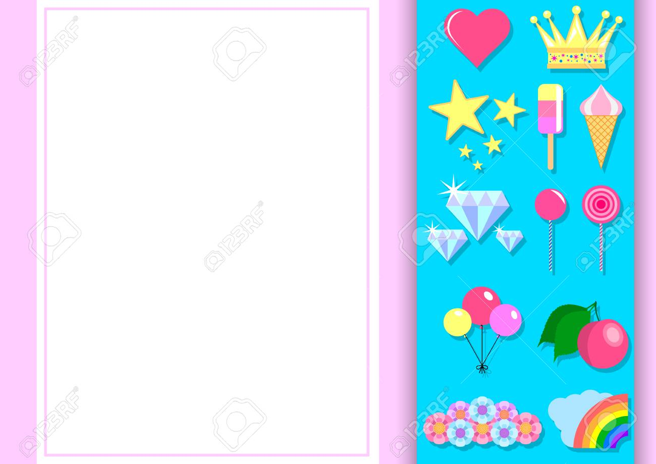 set of items for girls typographic design for greeting birthday