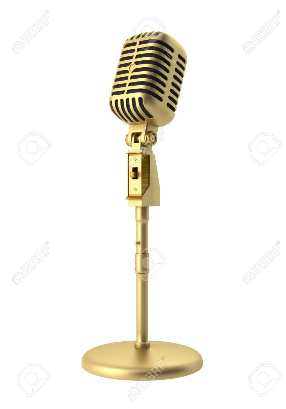 golden vintage microphone isolated