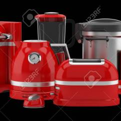 Red Kitchen Appliances Painted Gray Cabinets Isolated On Black Background 3d Illustration
