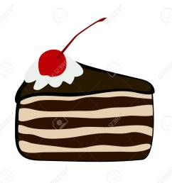vector vector illustration flat cartoon triangular slice of cake black forest covered with chocolate glaze whipped cream and confectionery cherry  [ 1300 x 1247 Pixel ]