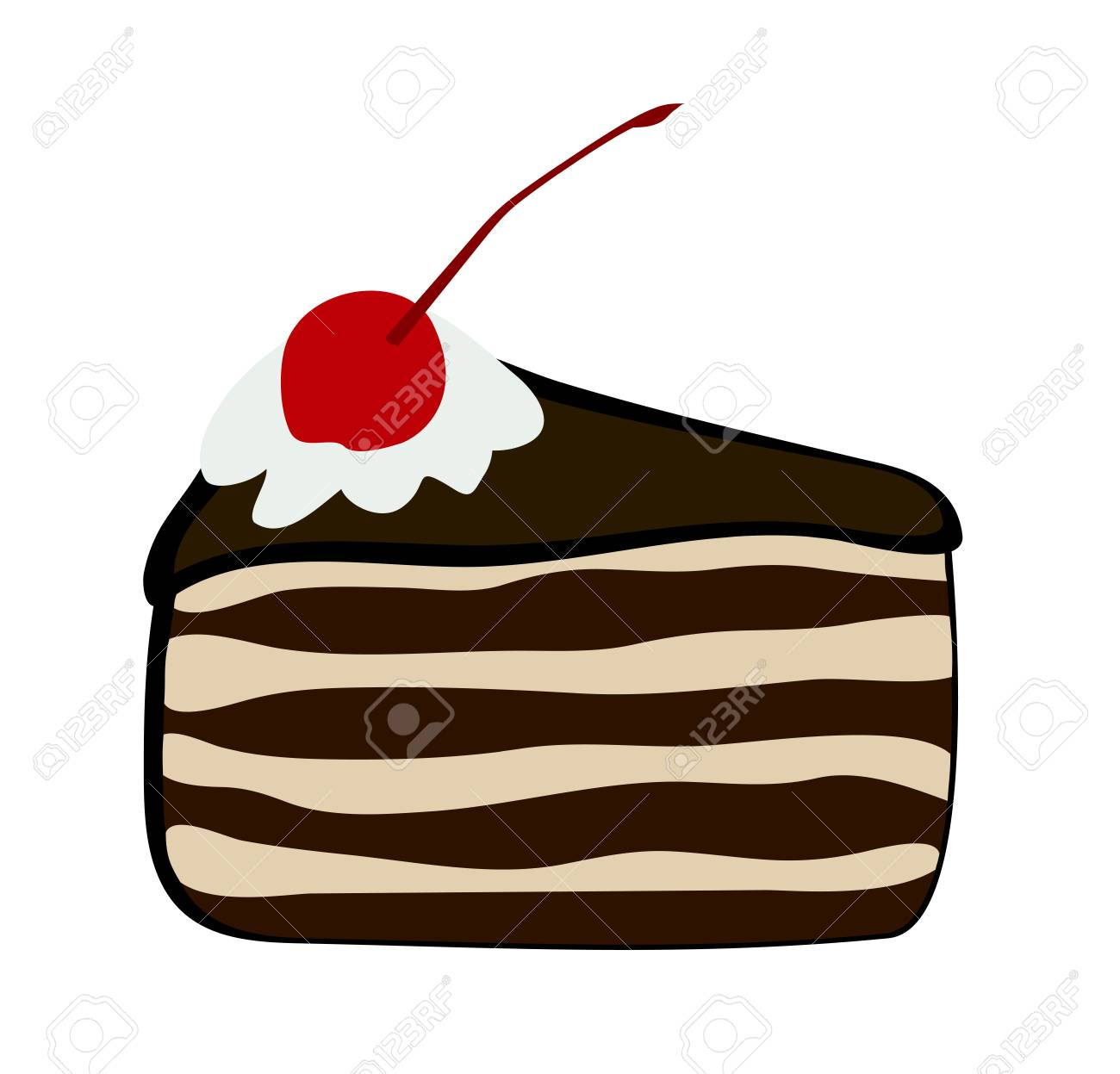 hight resolution of vector vector illustration flat cartoon triangular slice of cake black forest covered with chocolate glaze whipped cream and confectionery cherry