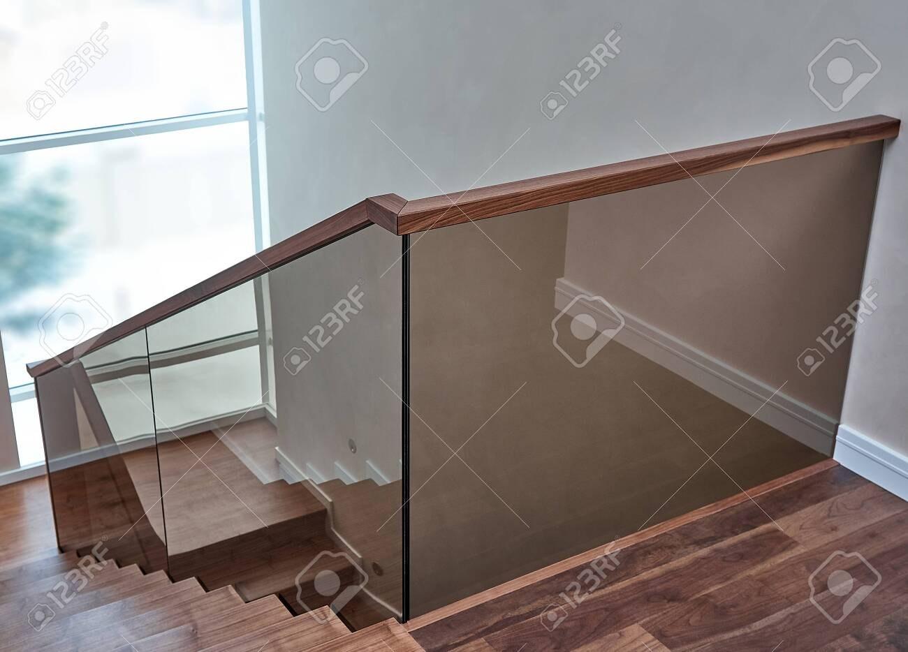 Beautiful Modern Glass Railing For Wooden Staircase With Wooden | Glass Railing With Wood Handrail | Modern | Interior | Panel | Metal | Residential