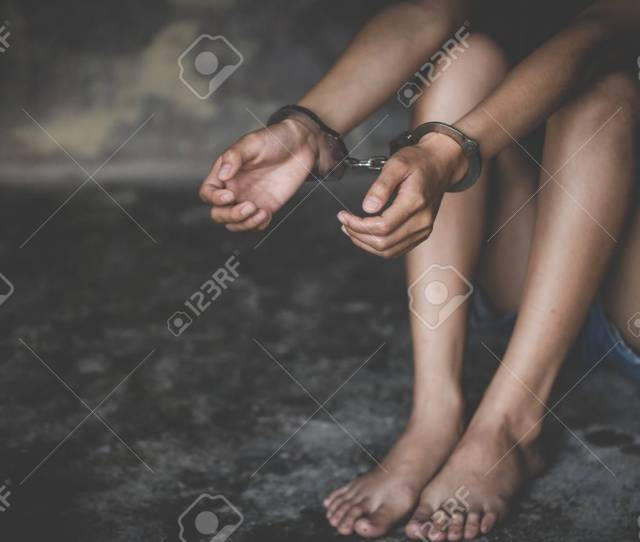 Stock Photo The Slave Girl Was Handcuffed And Kept Women Violence And Abused Concept Imprisonment Human Trafficking Concept International Womens Day