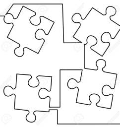 continuous one line drawing of four pieces of jigsaw on white background vector illustration black [ 1300 x 1300 Pixel ]