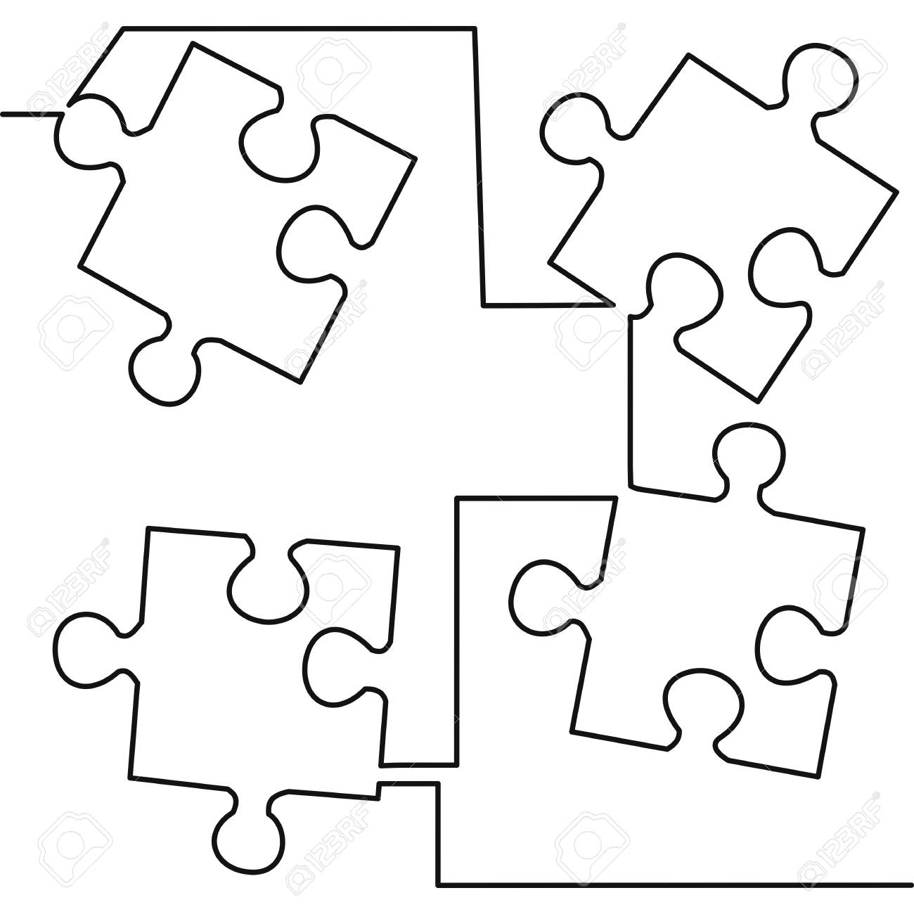 hight resolution of continuous one line drawing of four pieces of jigsaw on white background vector illustration black