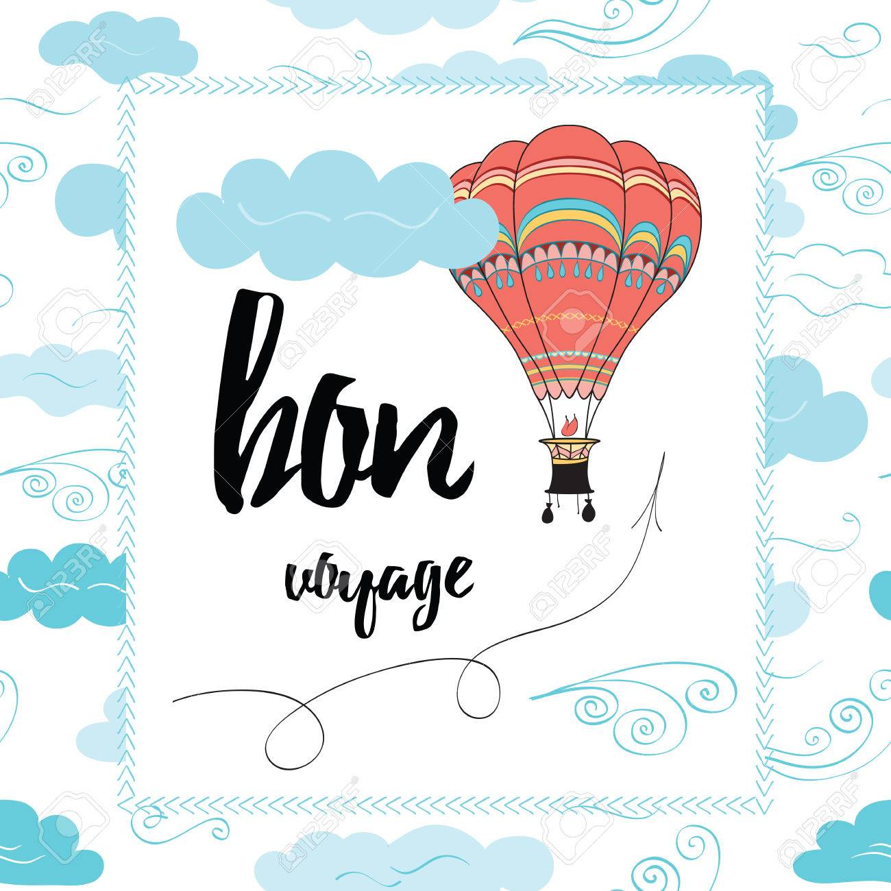 Travel Typography Banner With Hot Air Ballon And Inspirational Royalty Free Cliparts Vectors And Stock Illustration Image 66864863