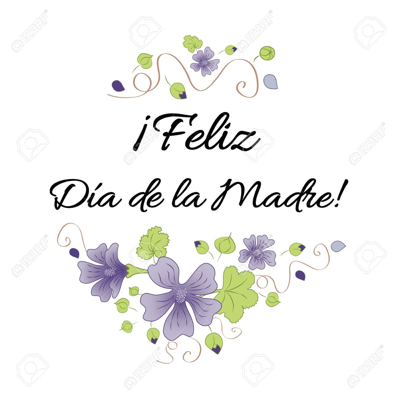 hight resolution of happy mother day banner decorated hand drawn meadow flowers lettering title in spanish stock vector