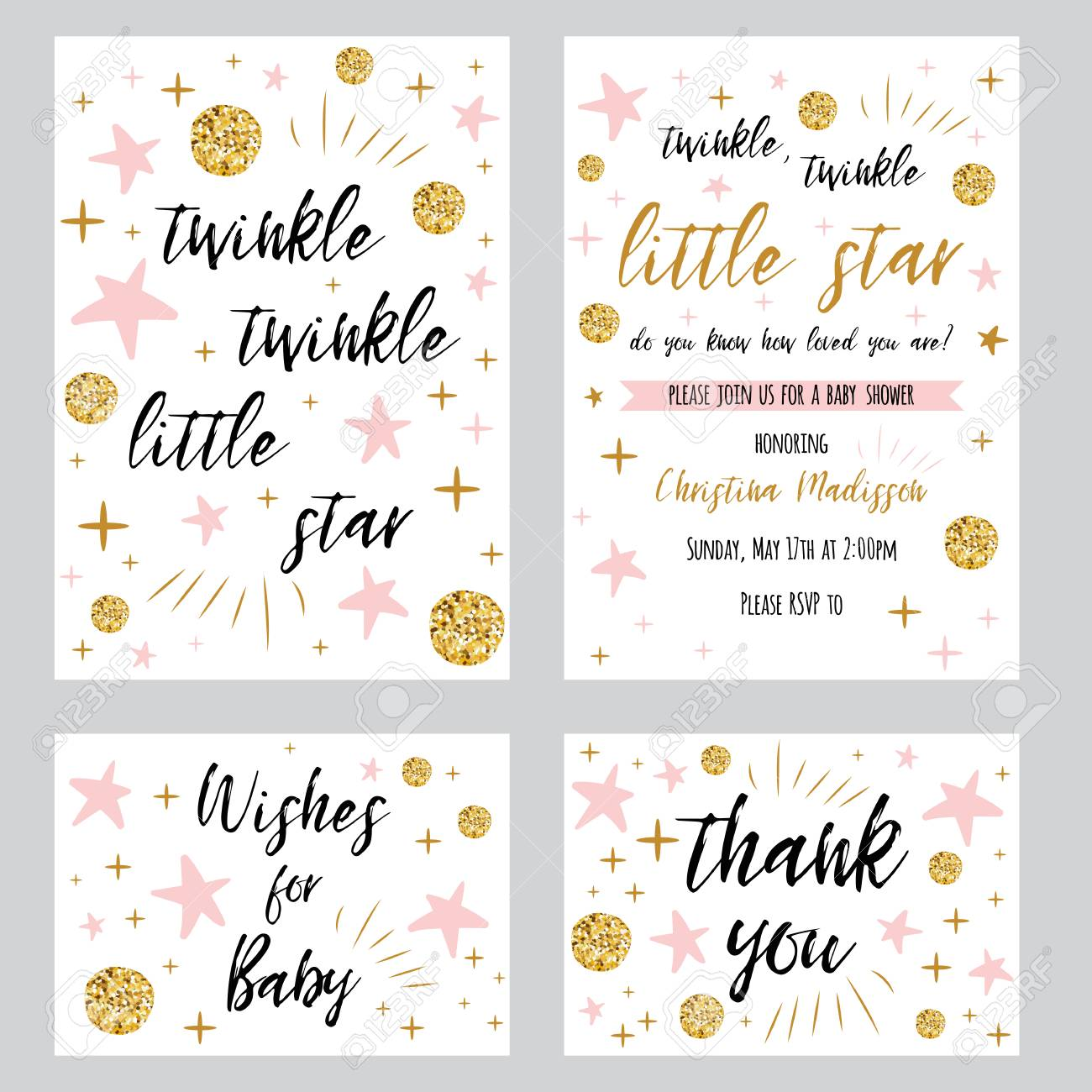 twinkle twinkle little star text with cute gold pink colors
