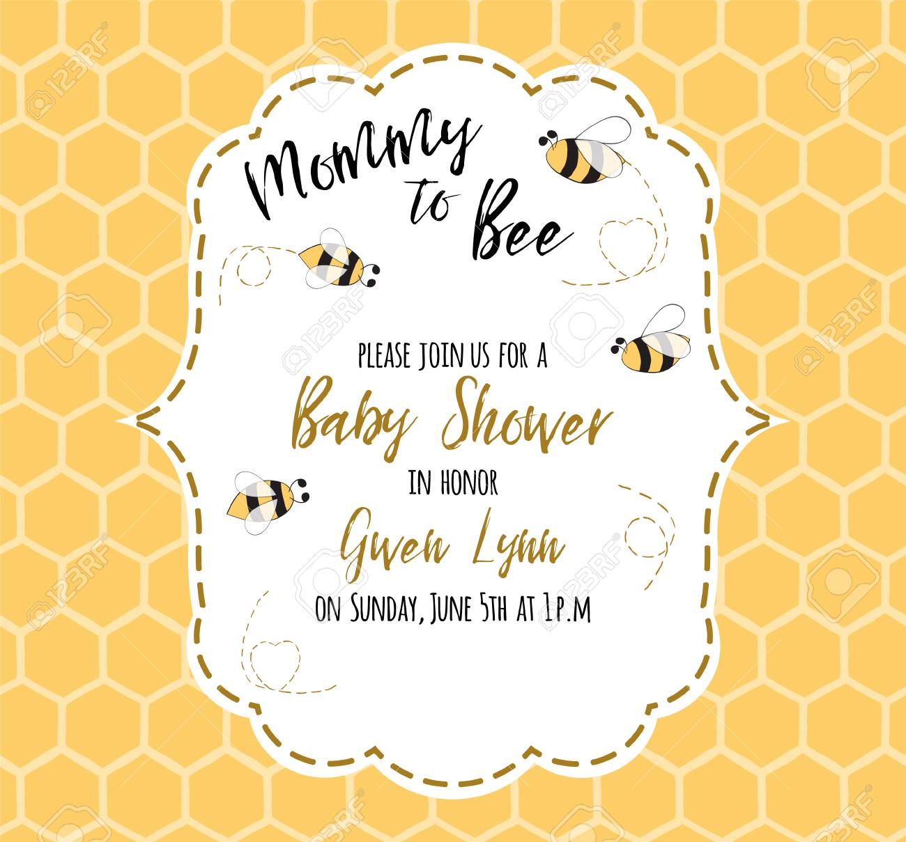 baby shower invitation template with text mommy to bee honey