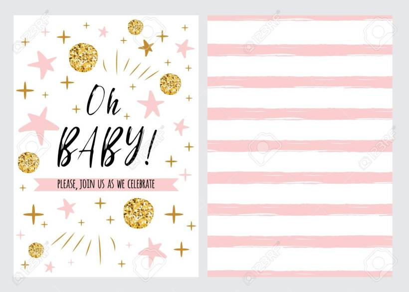 Baby Shower Invitation Template With Sparkle Gold Pink Stars Background Oh