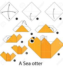 step by step instructions how to make origami a sea otter stock vector 56945704 [ 1300 x 1300 Pixel ]