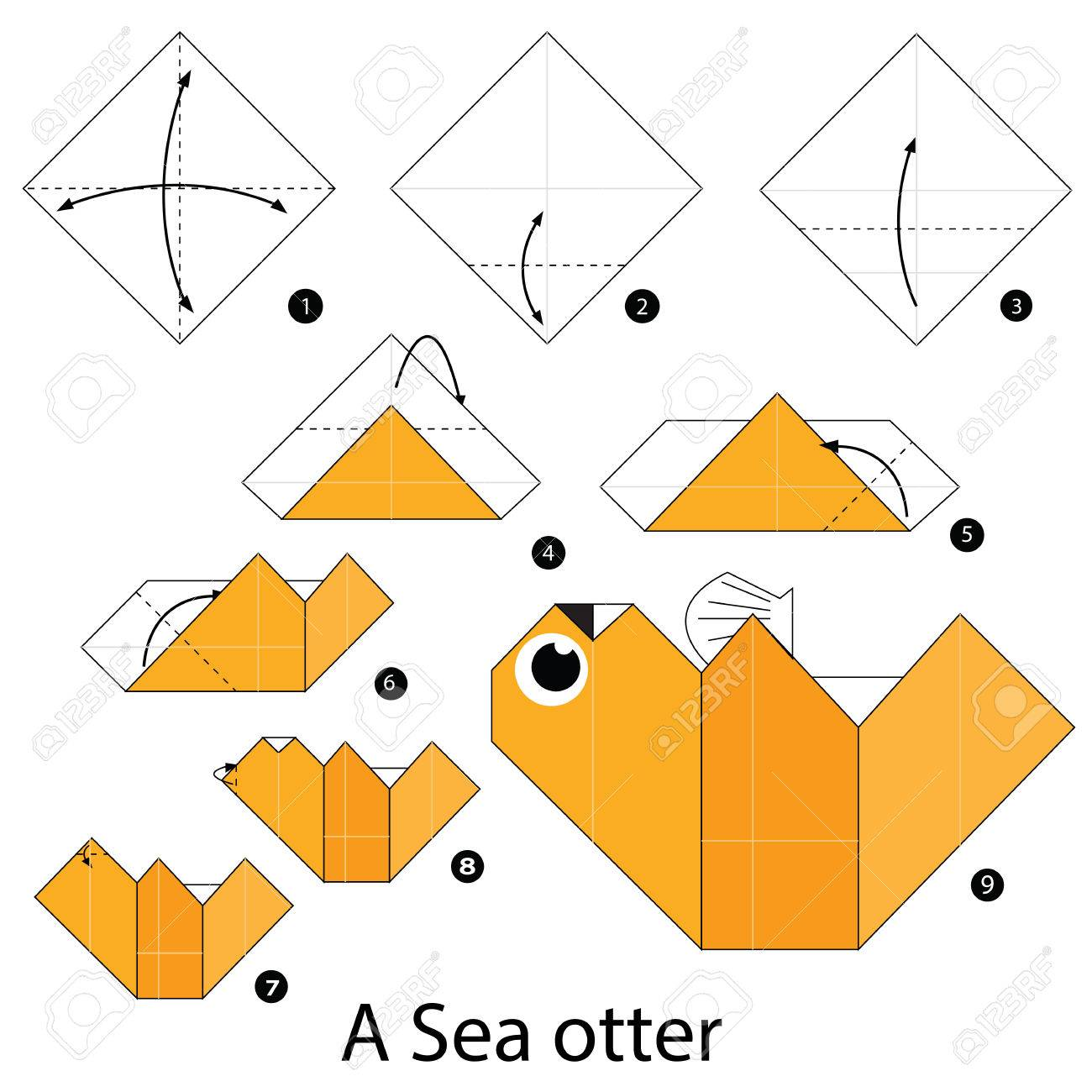 hight resolution of step by step instructions how to make origami a sea otter stock vector 56945704