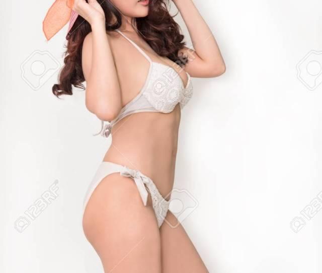 Sexy Asian Girl Wearing Bikini With Sun Hat Stock Photo 85260451