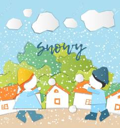 weather forecast in papercut style girl and boy outdoors on a snowy day children s applique style [ 1300 x 1300 Pixel ]
