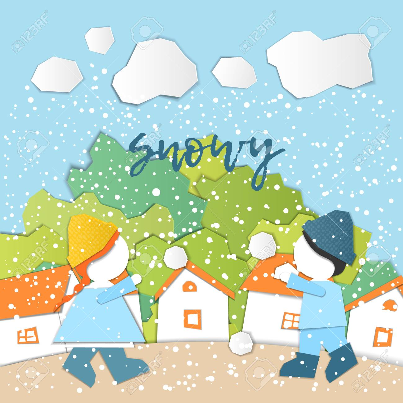 hight resolution of weather forecast in papercut style girl and boy outdoors on a snowy day children s applique style