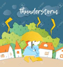 weather forecast in papercut style girl and boy outdoors on a stormy day children s applique style [ 1300 x 1300 Pixel ]
