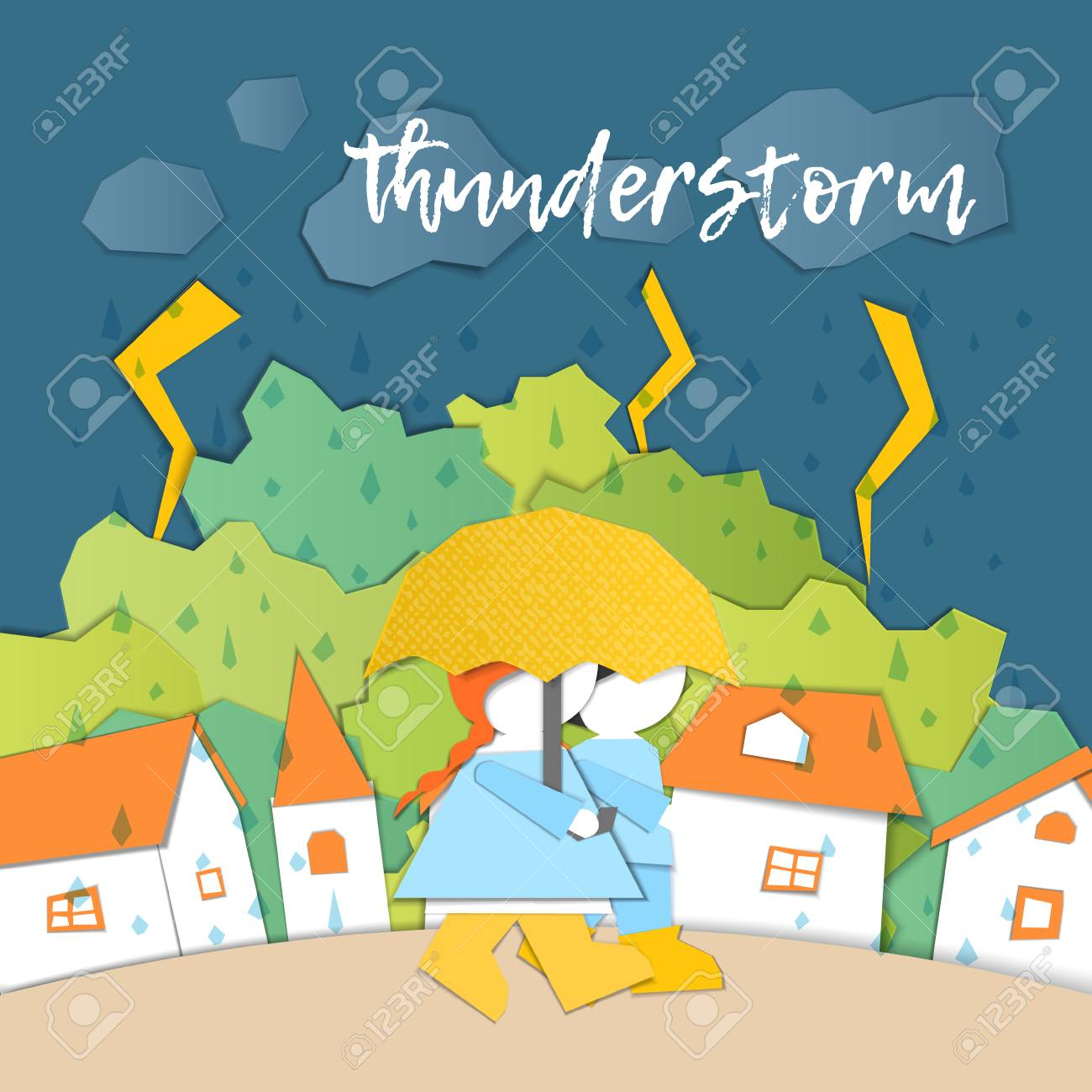 hight resolution of weather forecast in papercut style girl and boy outdoors on a stormy day children s applique style