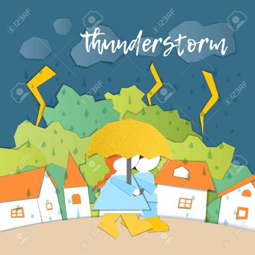 small resolution of weather forecast in papercut style girl and boy outdoors on a stormy day children s applique style