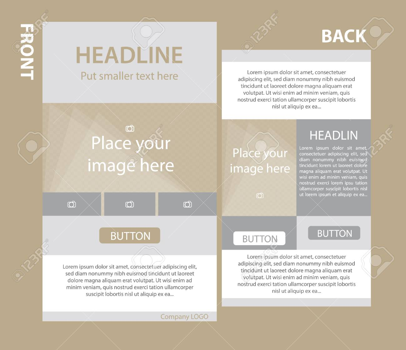 Newsletter Corporate Vector Template With Front And Back Layout Stock  Vector - 68045652