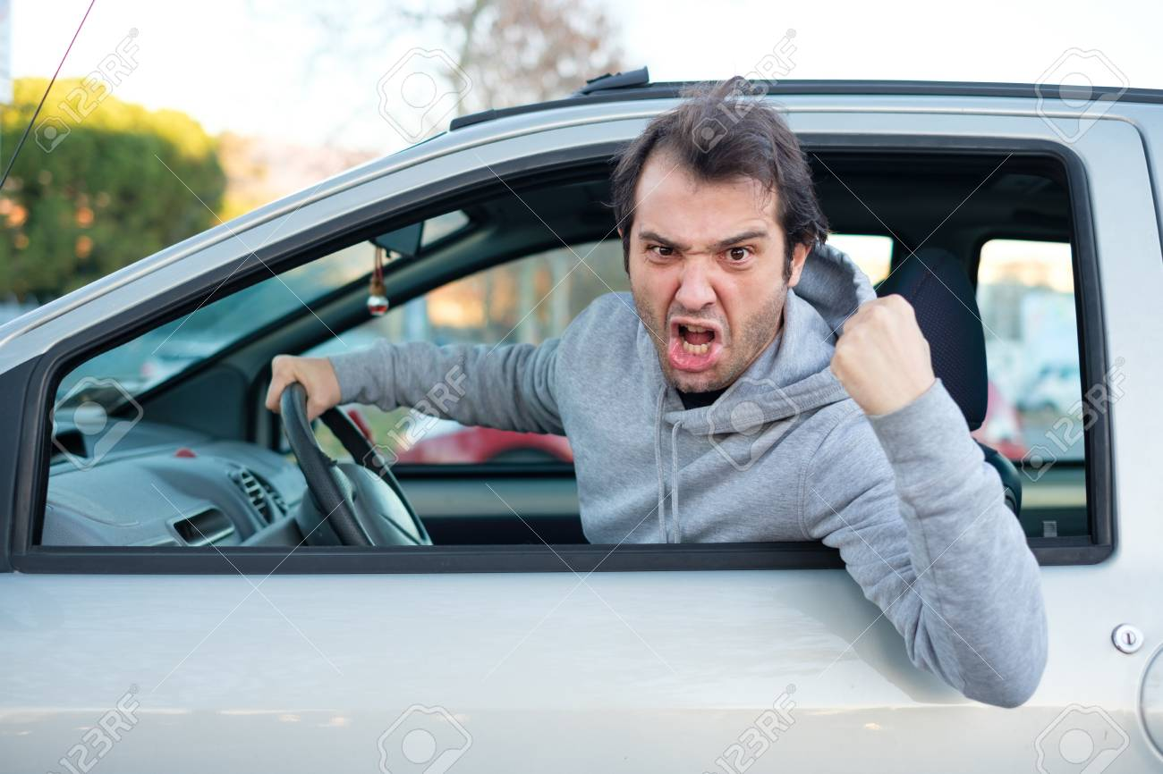 portrait of angry driver