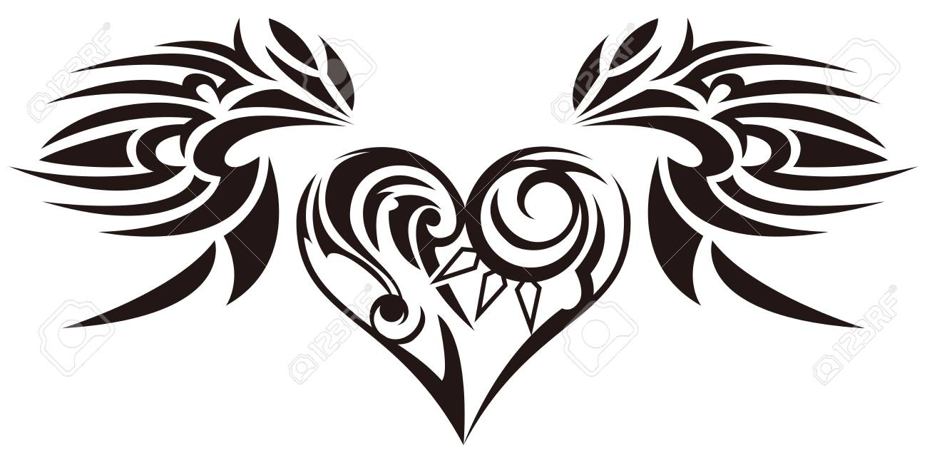 tribal sticker heart and