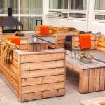 Outdoor Restaurant Terrace With Wooden Furniture In Scandinavian Stock Photo Picture And Royalty Free Image Image 128001090
