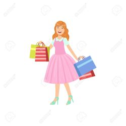 Girl Buying Clothes In Shopping Mall Bright Color Cartoon Simple Royalty Free Cliparts Vectors And Stock Illustration Image 67583598
