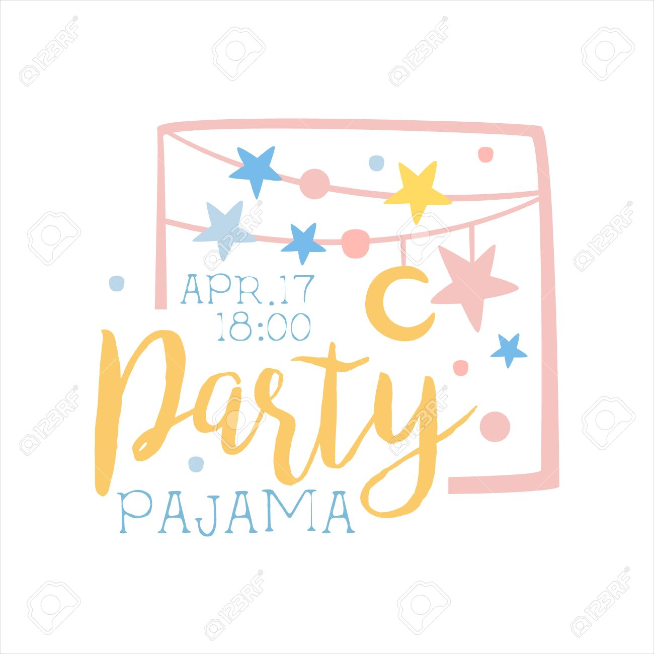 girly pajama party carte d invitation modele avec guirlandes invitant kids for the sleepover nuit slumber pyjama stencil pour la carte postale