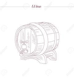 vector wine tun hand drawn realistic sketch [ 1300 x 1300 Pixel ]