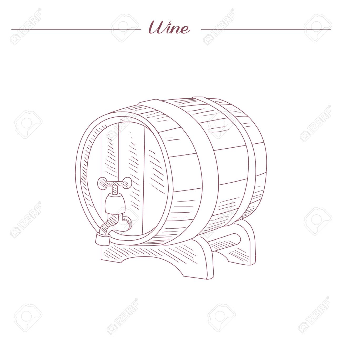 hight resolution of vector wine tun hand drawn realistic sketch