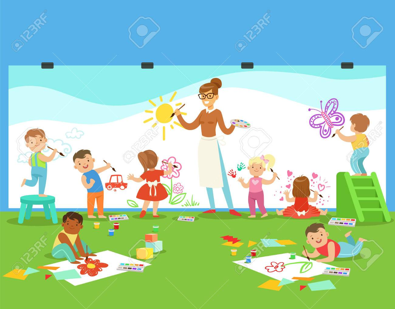 hight resolution of vector young children in art class drawing and painting with teacher in a nursery school