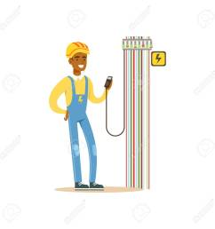 professional electrician man character measuring the voltage output in fuse box electrical works vector illustration [ 1299 x 1300 Pixel ]