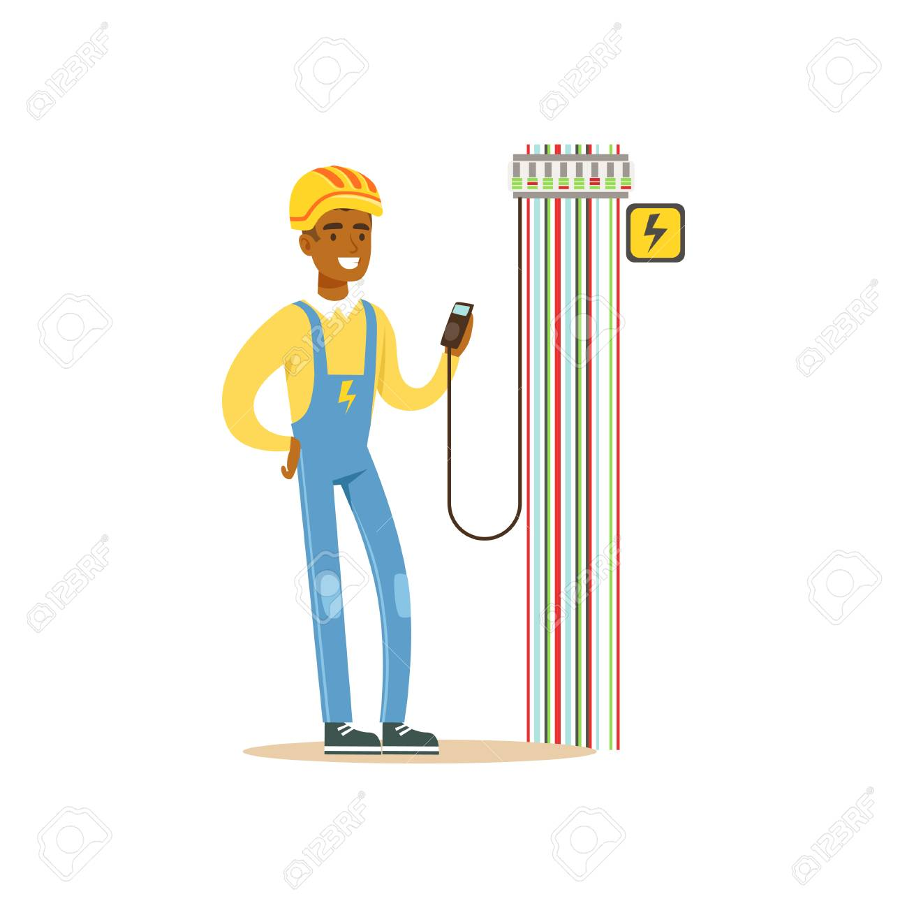 hight resolution of professional electrician man character measuring the voltage output in fuse box electrical works vector illustration