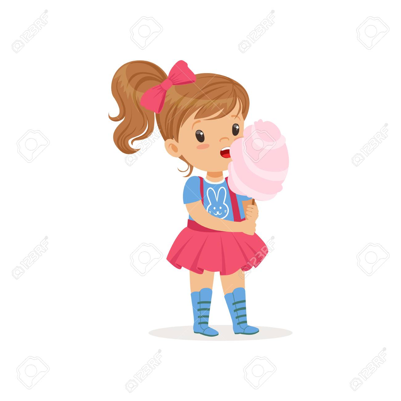 hight resolution of lovely toddler kid eating sweet cotton candy on stick brown haired girl with ponytail