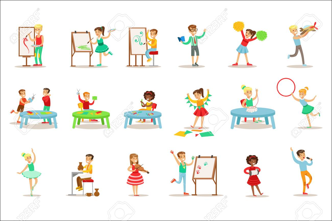 hight resolution of creative children practicing different arts and crafts in art class and by themselves set of kids and creativity themed illustrations