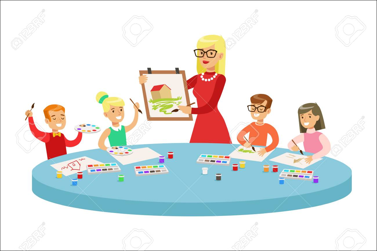 hight resolution of children in art class two cartoon illustrations with elementary school kids and their techer crafting and drawing in creativity lesson