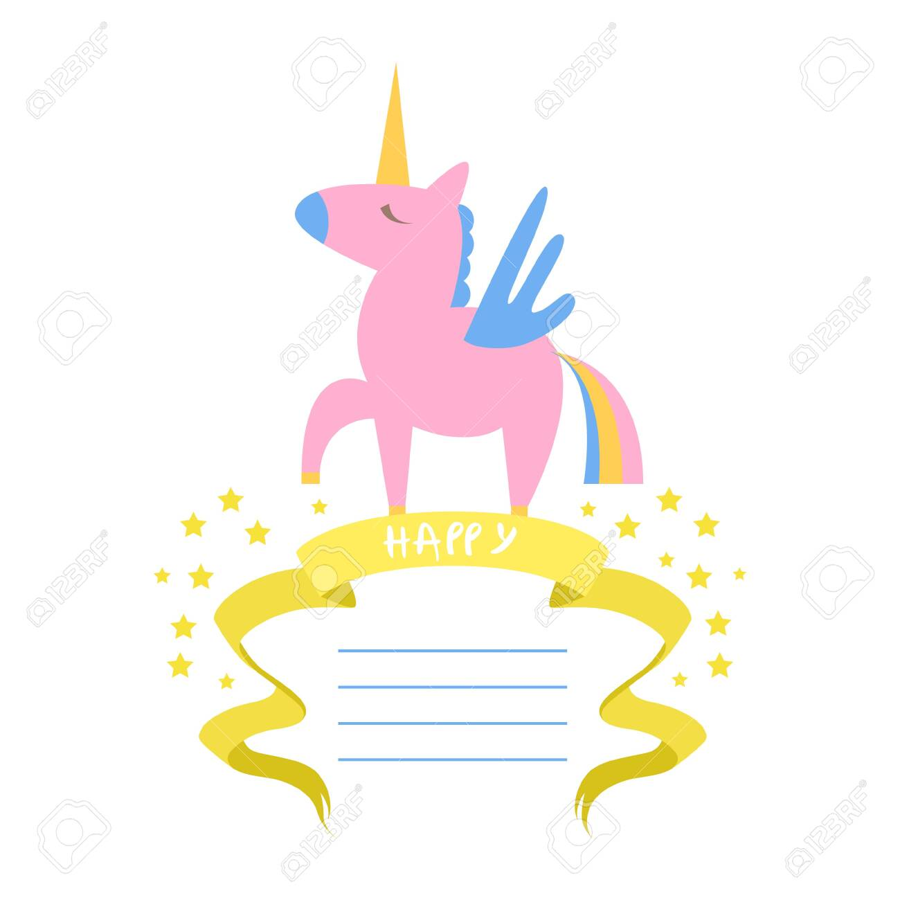 beautiful unicorn card template with place for text birthday