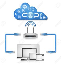 stock photo the isolated paper cut of network diagram in home from computer with router to cloud server for use to internet [ 1300 x 1300 Pixel ]
