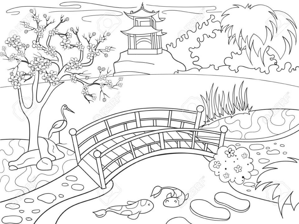 漫画の子供のための塗り絵日本の自然。日本の庭のベクトル図