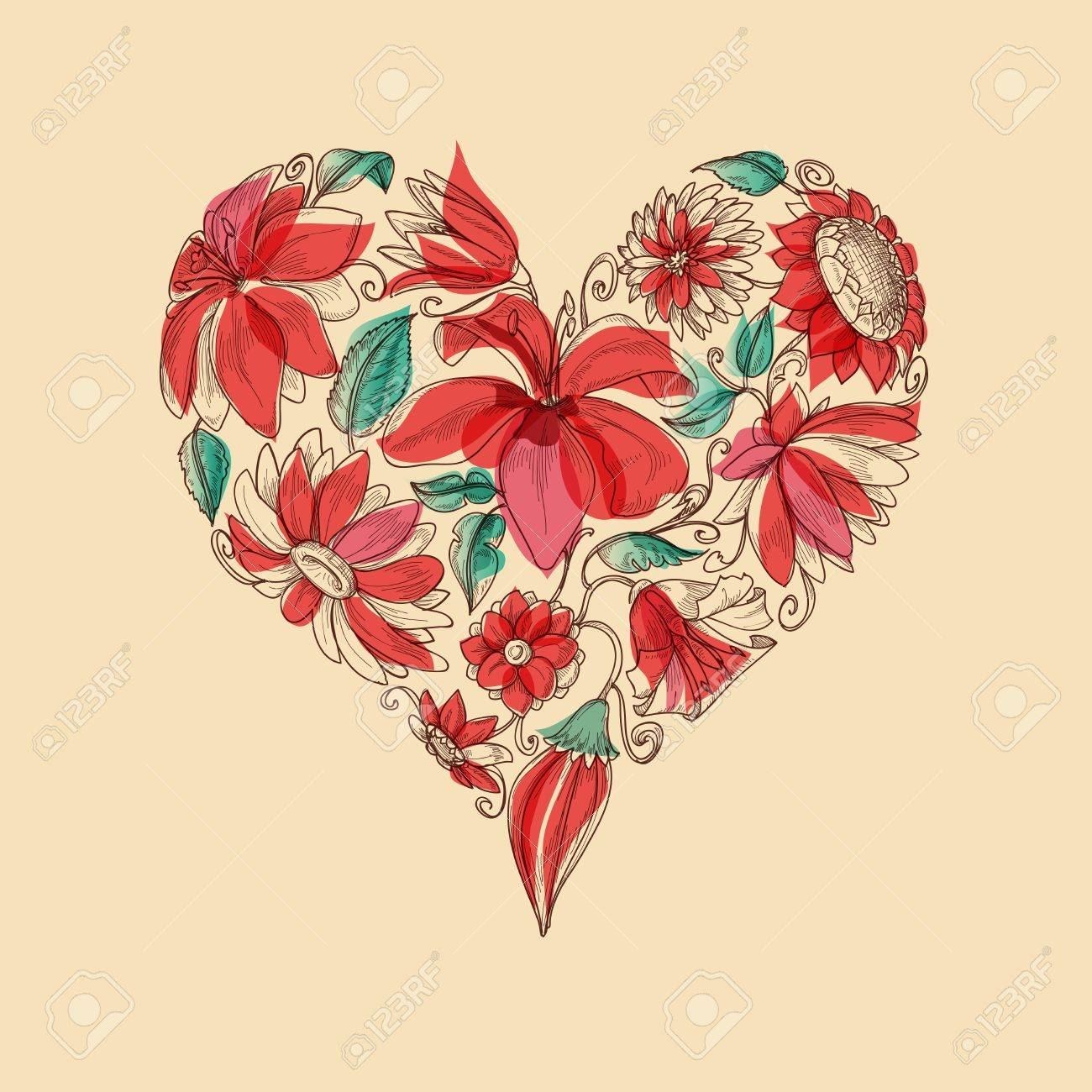 retro heart of flowers