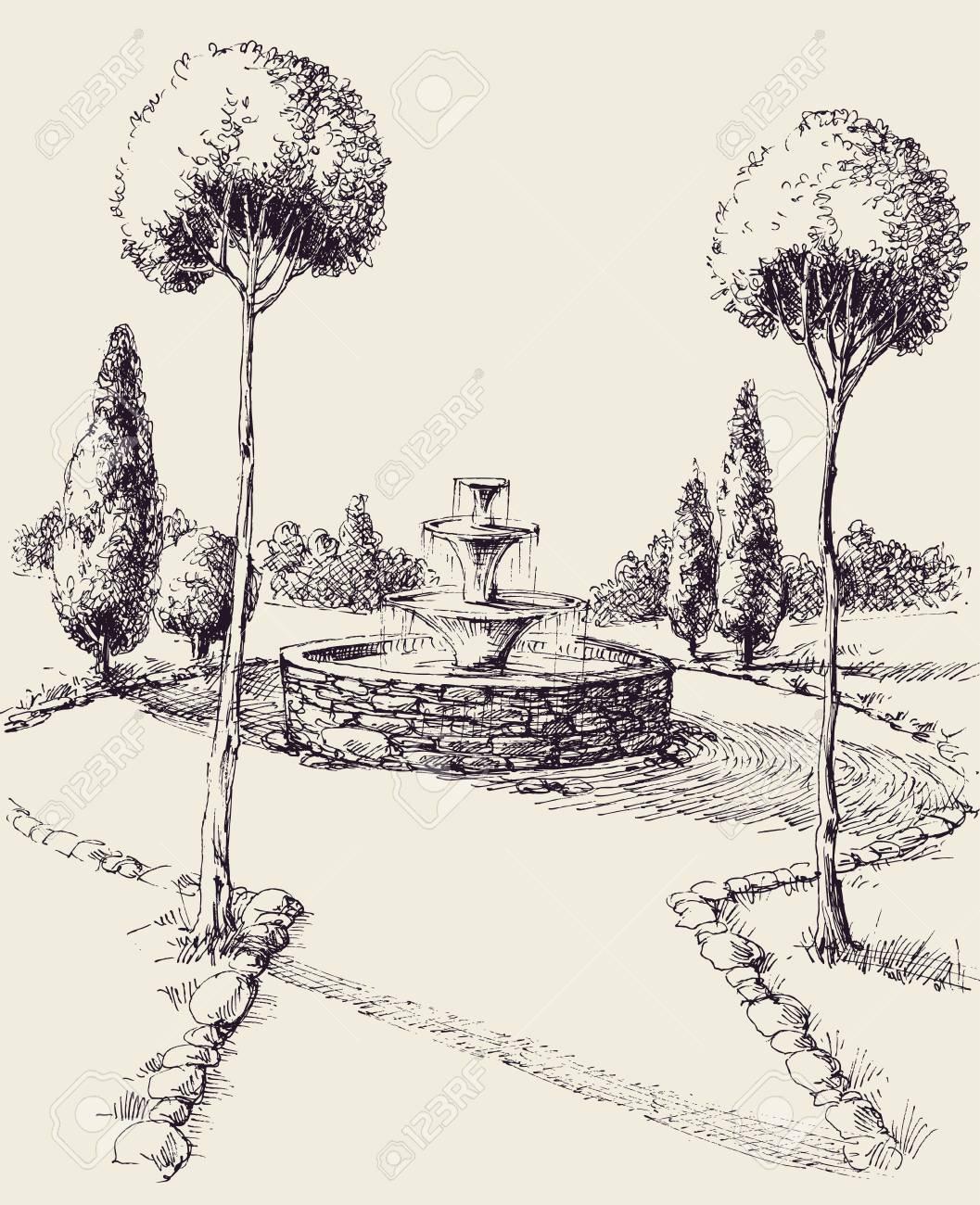 Water Fountain Drawing : water, fountain, drawing, Water, Fountain, Drawing., Alley, Sketch, Royalty, Cliparts,, Vectors,, Stock, Illustration., Image, 122945241.