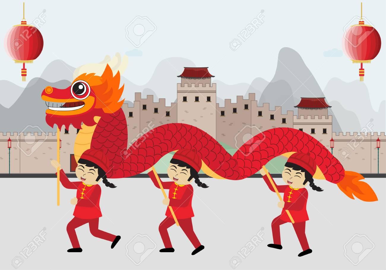 chinese dragon dance happy