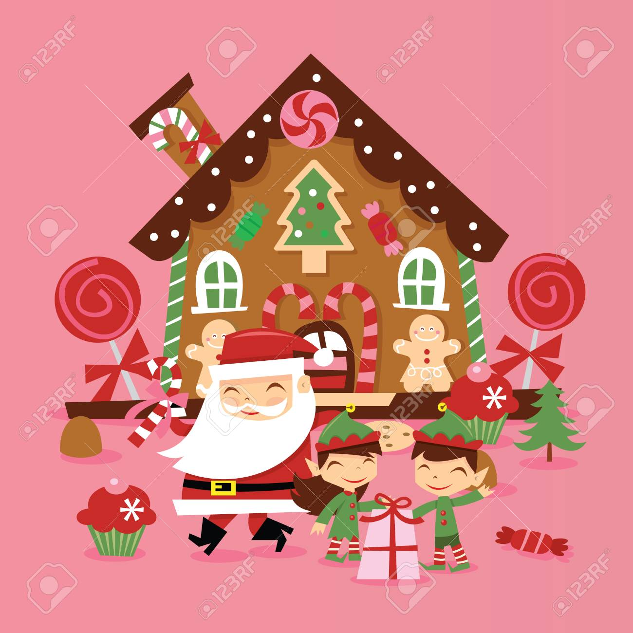 La casa di babbo natale parte 1 parte 2 parte 3 parte 4 parte 5: A Vector Illustration Of Super Cute Retro Santa Claus And His Elves In Front Of Whimiscal Gingerbread House With Gifts And Candies Royalty Free Cliparts Vectors And Stock Illustration Image 88307334
