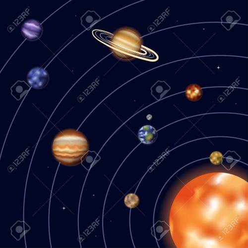 small resolution of vector vector illustration of solar system with sun mercury venus earth moon mars jupiter saturn uranus neptune diagram with order of planet