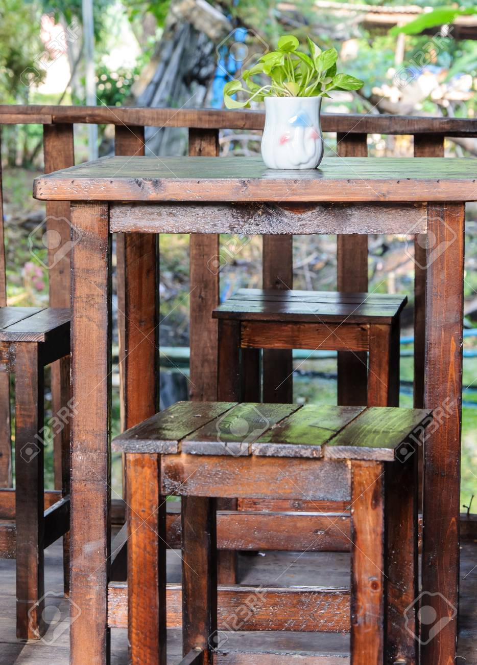 old wooden table set of the small coffee shop