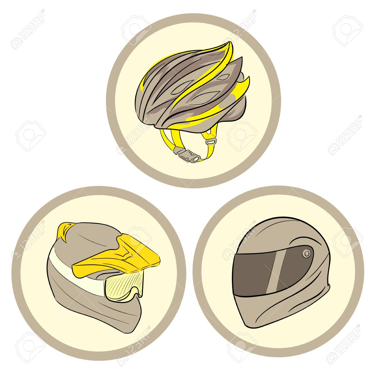 hight resolution of clipart with three helmets of safety in circles stock vector 52734242