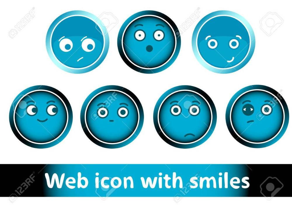 medium resolution of clipart with icons buttons of blue color with smiles stock vector 54292174