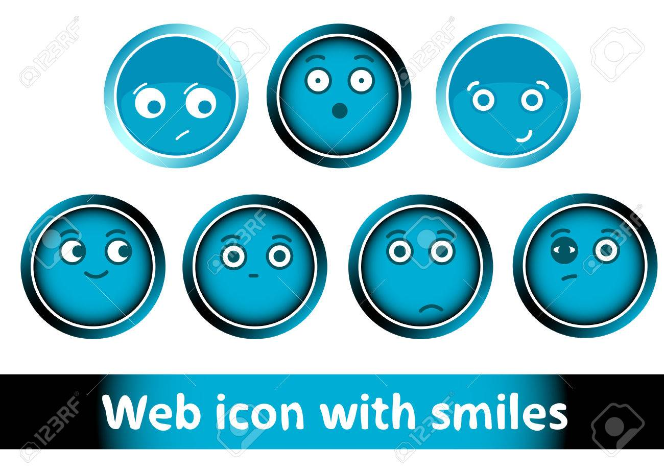 hight resolution of clipart with icons buttons of blue color with smiles stock vector 54292174