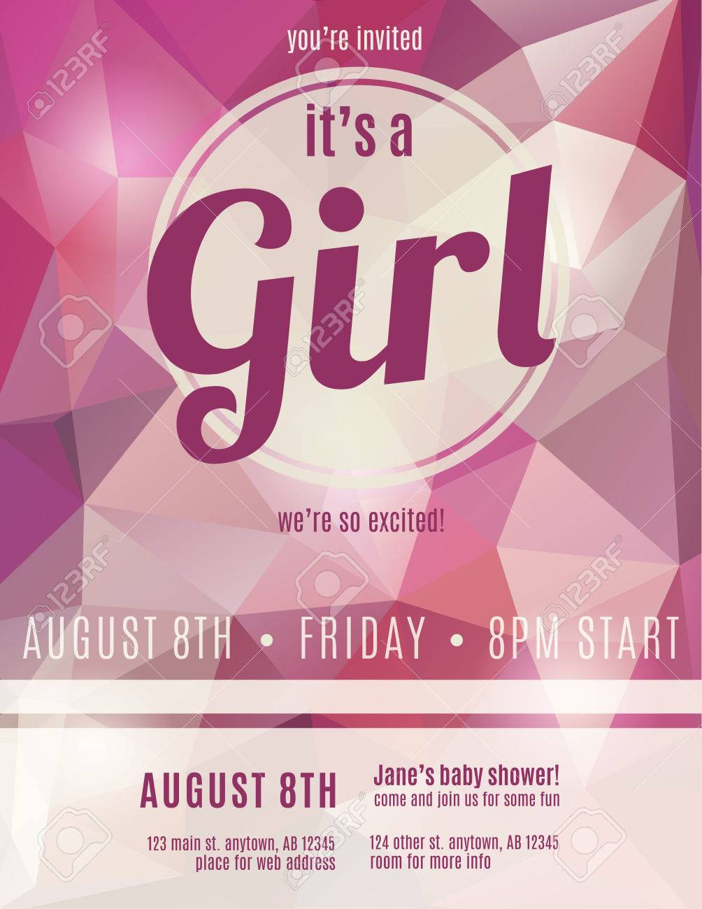 Try it now to make your birth poster. Its A Girl Birth Announcement Flyer Design Template For Baby Shower Royalty Free Cliparts Vectors And Stock Illustration Image 35653205